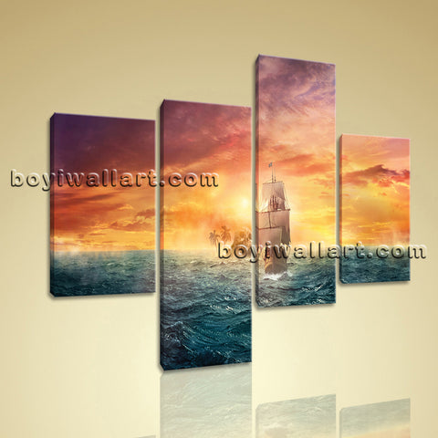 Large Seascape Picture Boat Print Abstract Living Room Tetraptych Pieces