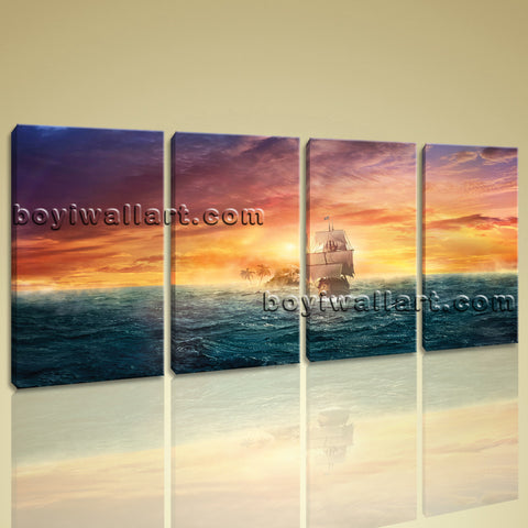 Large Sunset Landscape On Canvas Wall Art Prints Contemporary Ocean Painting