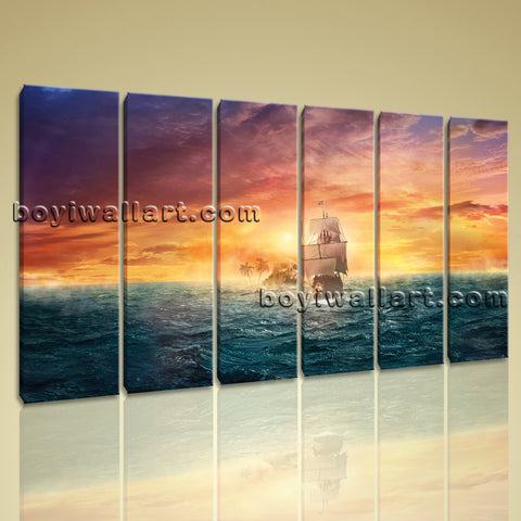 X Large Wall Art Prints Canvas 6 Pieces Modern Abstract Sunset Landscape Ocean
