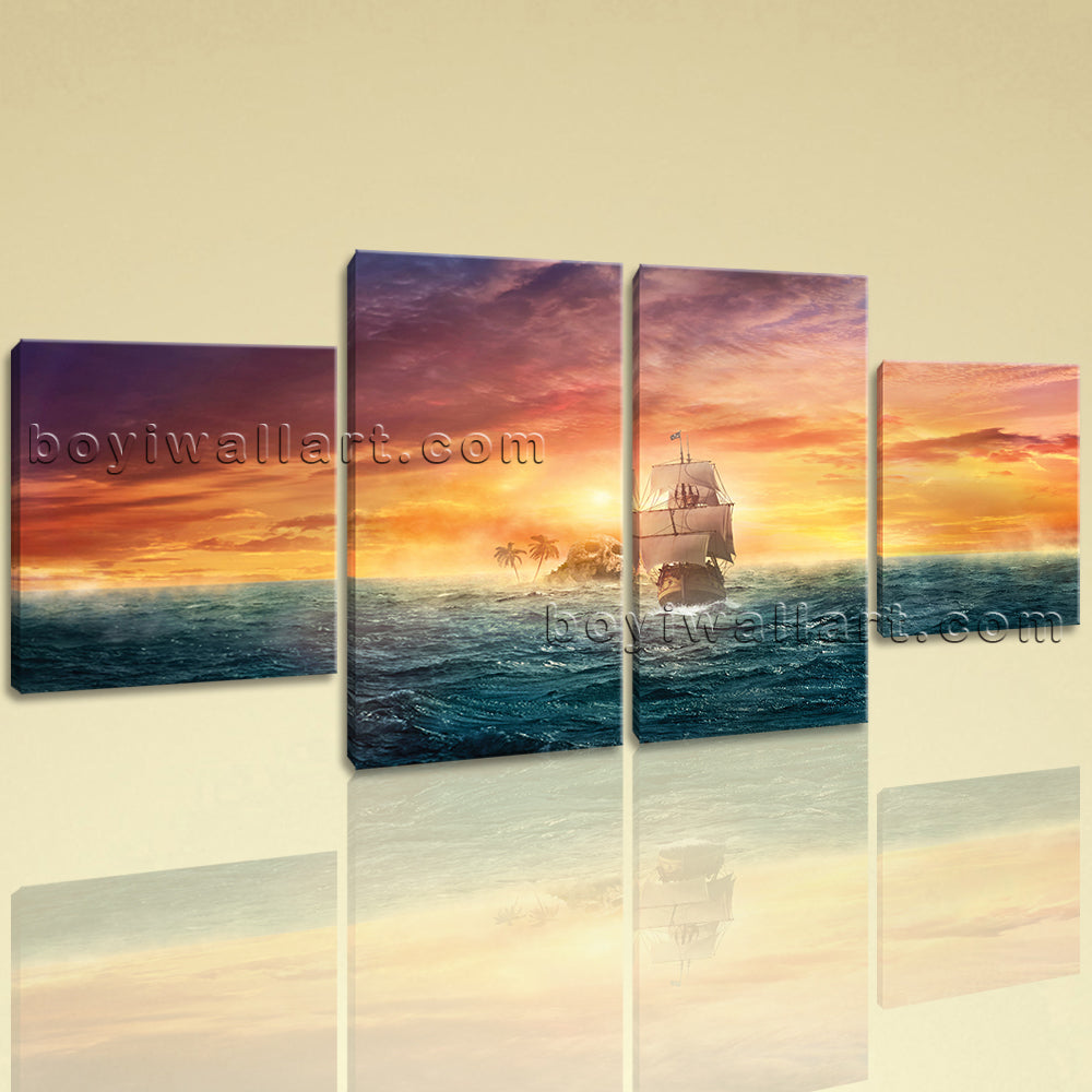 Large Seascape Picture Boat Canvas Art Abstract On Dining