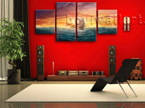 Large Seascape Picture Boat Canvas Art Abstract On Dining Room Four Pieces Print