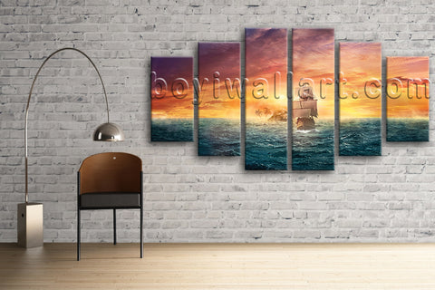 Large Seascape Wall Art Boat Hd Print Abstract On Canvas Hexaptych Pieces