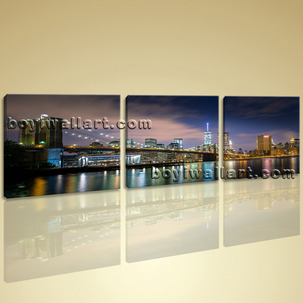 Big Canvas Print Home Office Wall Decor Art City New York Brooklyn Bridge Framed