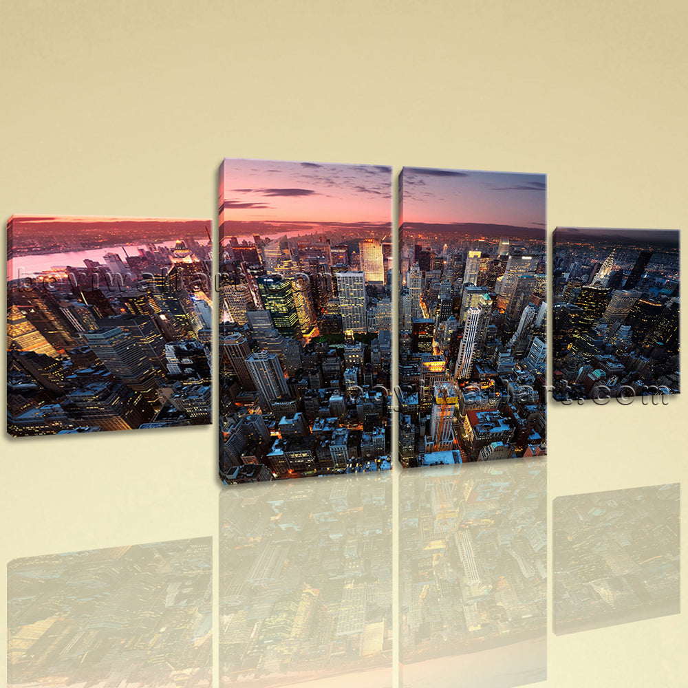 Large Cityscape Print New York Home Decor Dining Room Four Panels Art