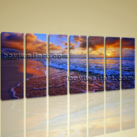 Large Prints Seascape Sunset Glow Picture Contemporary Canvas Wall Art Framed