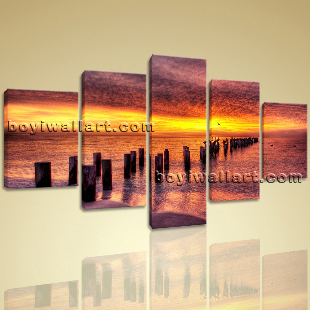 Large Canvas Print Landscape Sunset Glow Contemporary Wall Art Framed 5 Panels
