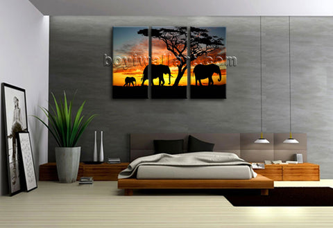 Hd Canvas Print Africa Landscape Tree Elephant Sunset 3 Pieces Wall Art Framed