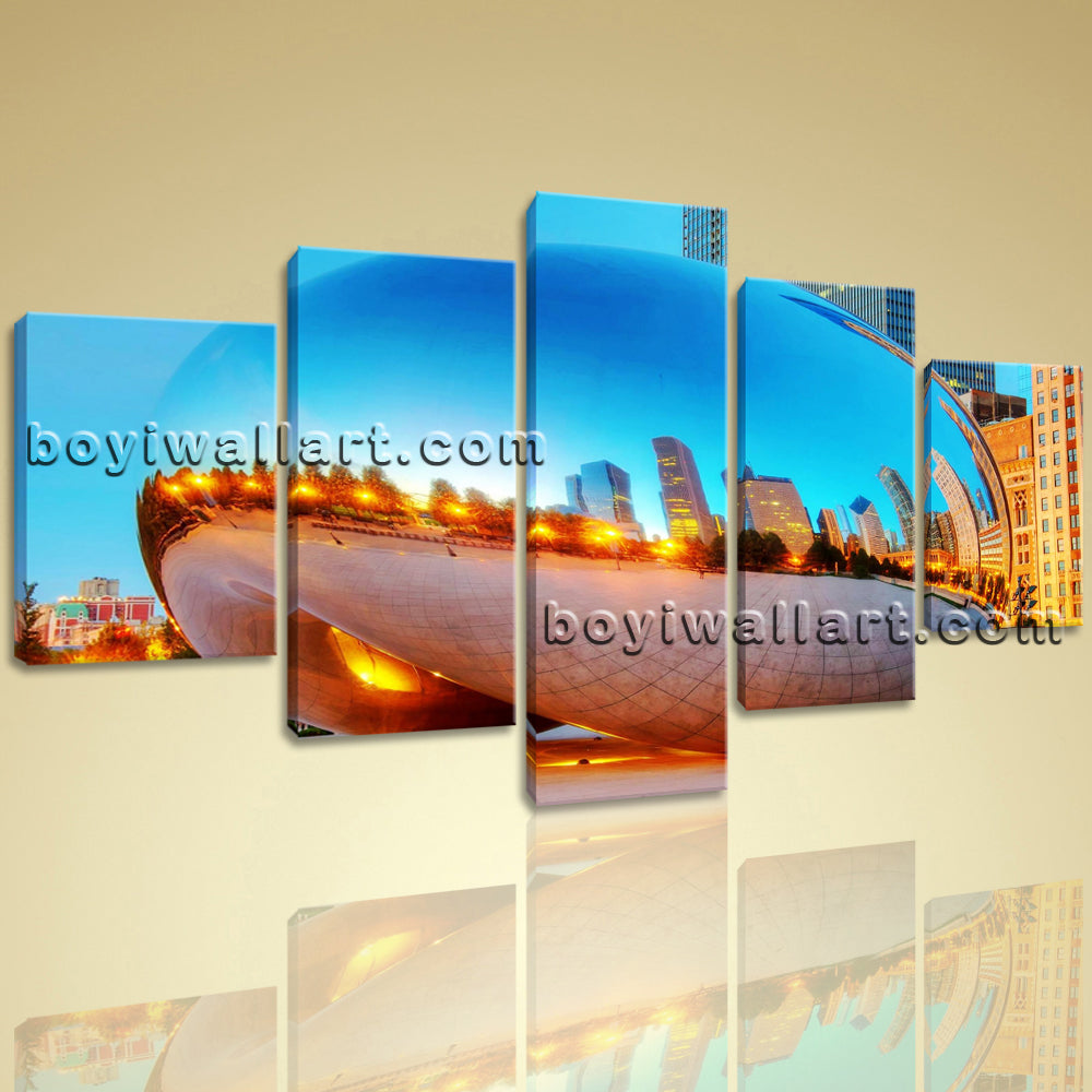 Large Contemporary Canvas Set Print Wall Art Picture Chicago City Sight Framed