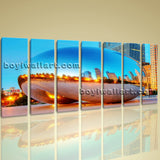 Big Great Large Landscape Wall Art On Canvas Print Chicago City Picture Framed
