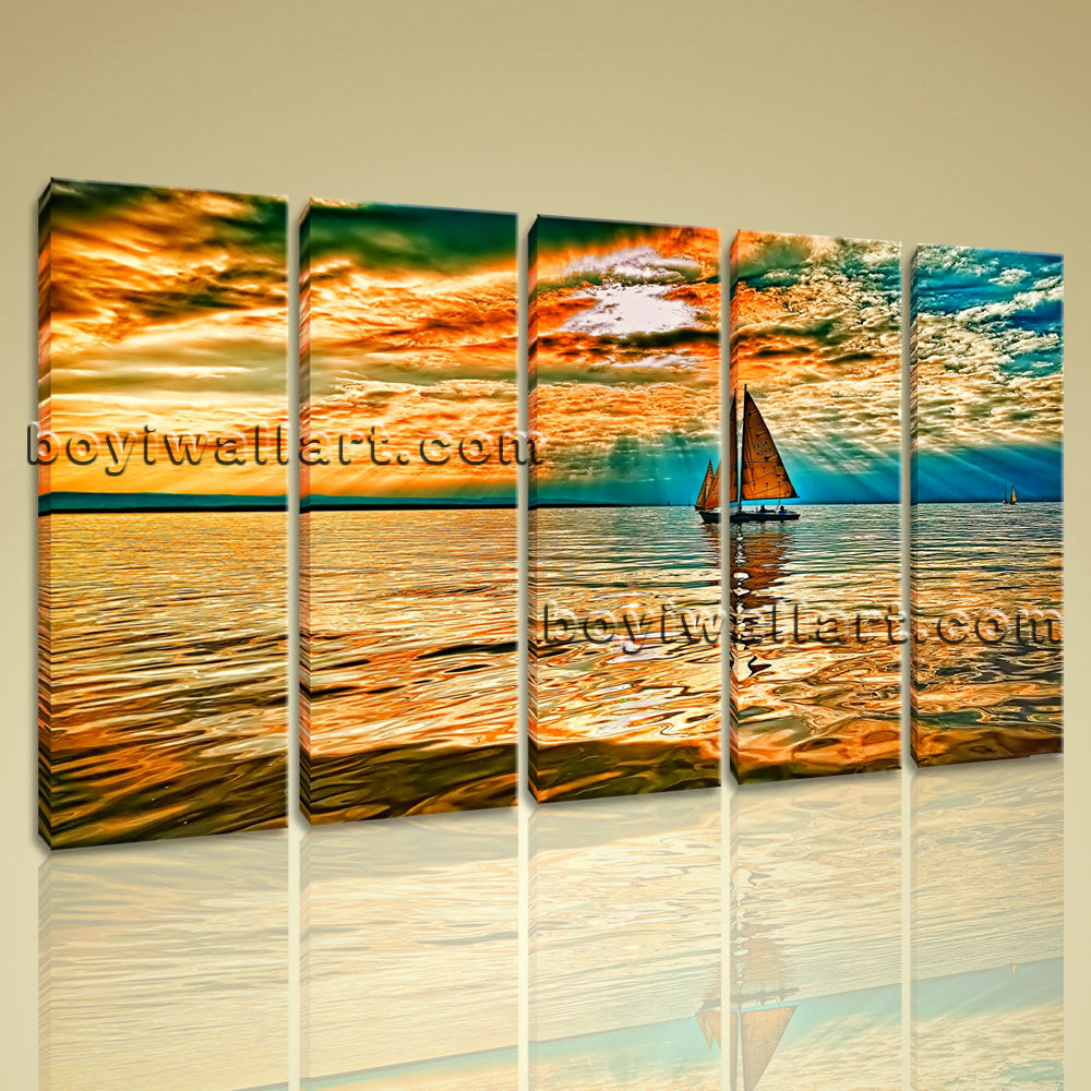 Amazing Sunset Glow Scene Seascape Landscape Boat Abstract Print Home Decor