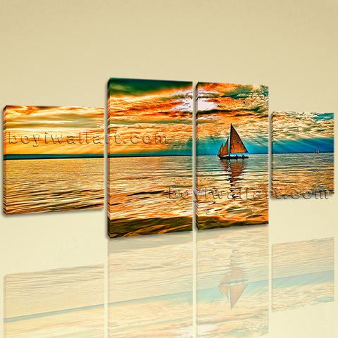 Large Seascape Hd Print Boat Wall Art Dining Room Tetraptych Panels Canvas