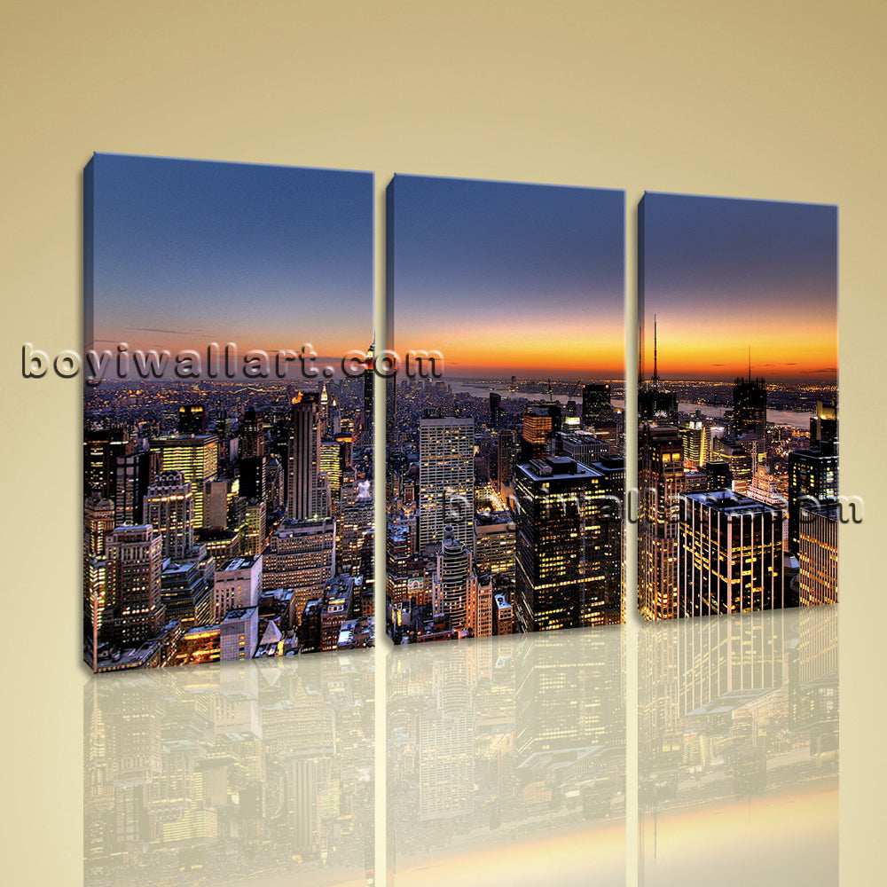 Large Framed Manhattan Skyline Modern Abstract Wall Art Decor Print On Canvas