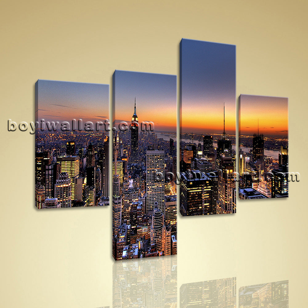 Large Cityscape Canvas Art New York Wall On Living Room Four Pieces Print