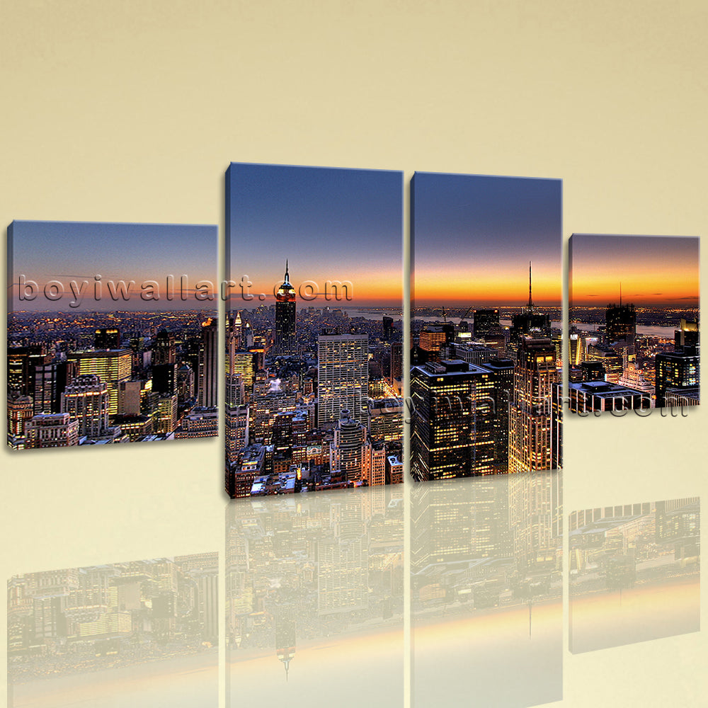 Large Cityscape Canvas Art New York Hd Print Wall Dining Room 4 Panels