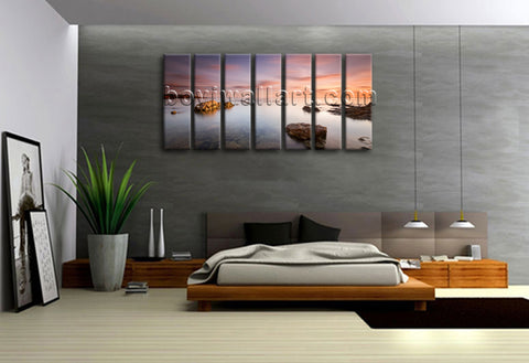 Framed Home Decor Canvas Print Modern Wall Art Seascape Beach Picture Large