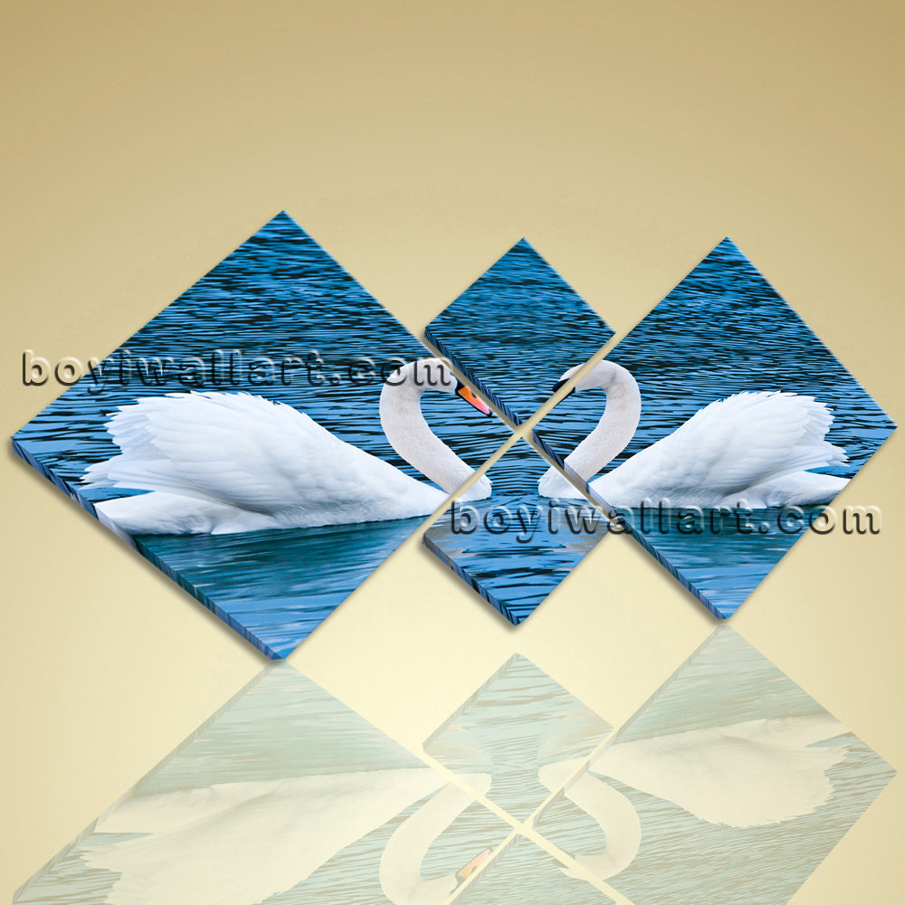 Modern Abstract Canvas Prints Home Decor Wall Art Romantic Lover White Swans