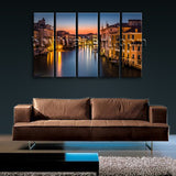 Large Framed Landscape Picture Italy Venice Canal Grande Canvas Print Wall Art
