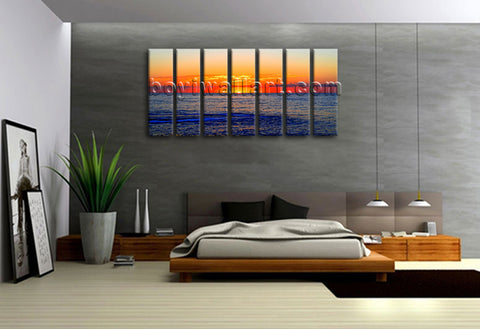 Framed Home Decor Canvas Print Wall Art Seascape Beach Sunset Glow Picture Large