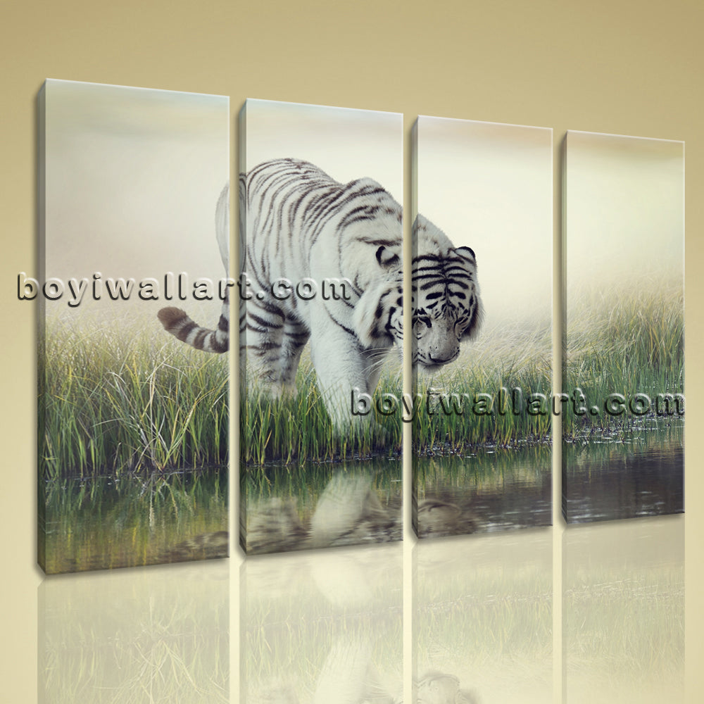 Large Hd Canvas Print Modern Abstract Wall Art White Tiger Big Cat Wild Jungle