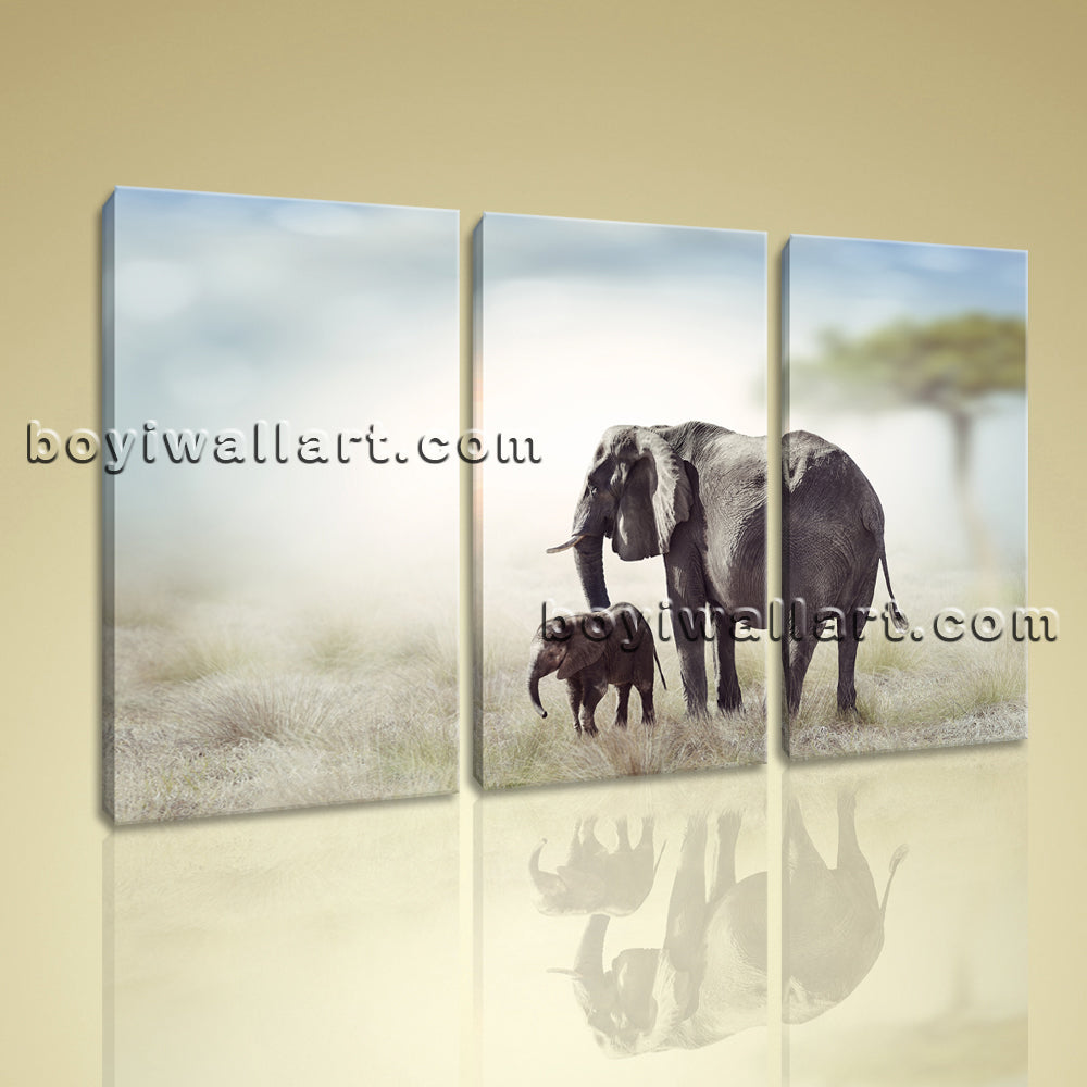Large Art Print Elephant Sunset Framed Hd Canvas Home Decor Wall Art Picture