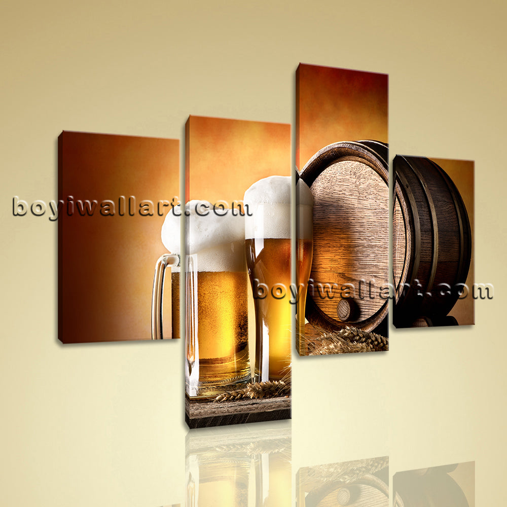 Large Food And Beverage Canvas Art Beer Wall Home Living Room 4 Panels Print