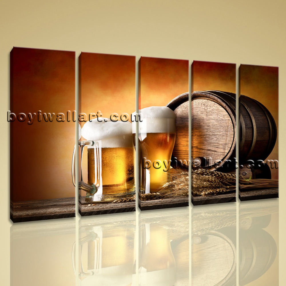 Large Canvas Prints Food And Beverage Beer Contemporary Home Decor Wall Art