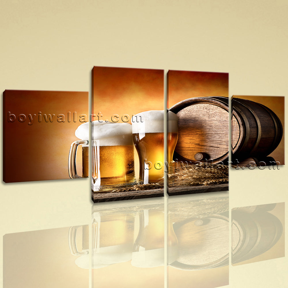 Large Food And Beverage Hd Print Beer Canvas Art Dining Room 4 Pieces Giclee