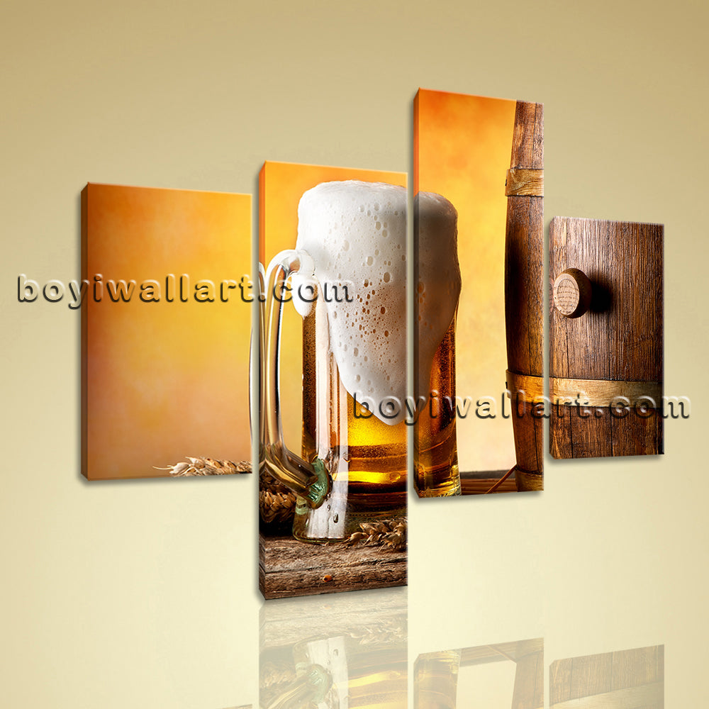 Large Food And Beverage Canvas Art Beer Wall Painting Living Room 4 Pieces print