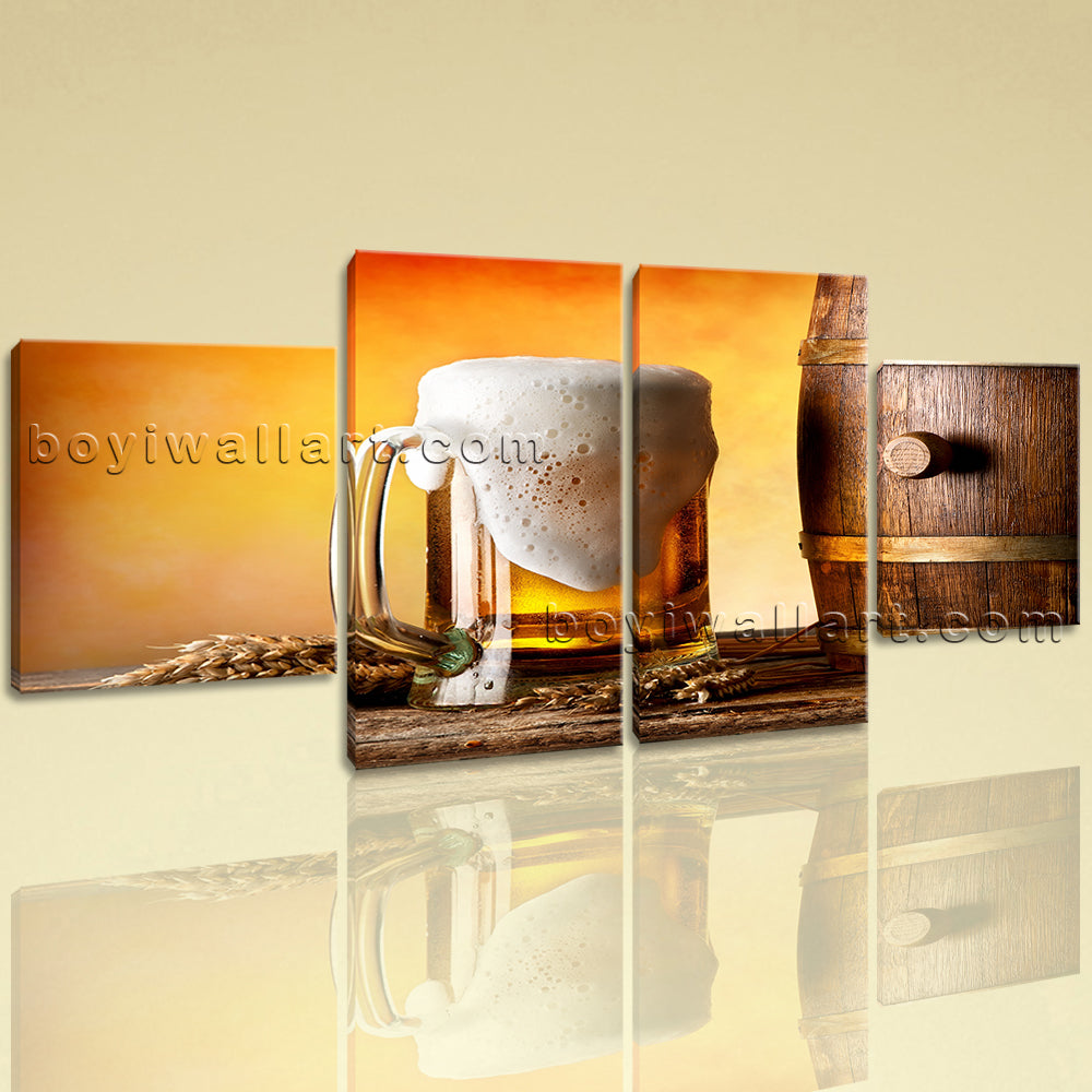 Large Food And Beverage Canvas Art Beer Wall Dining Room 4 Panels Print