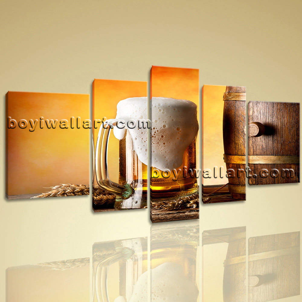 Canvas Wall Art Print Still Life Barrels Beer Picture Colorful Man Cave Decor
