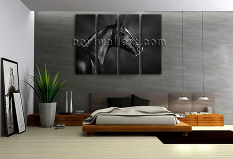 4 Panels Framed Dark Horse Painting Hd Print On Canvas Abstract Moder Wall Art