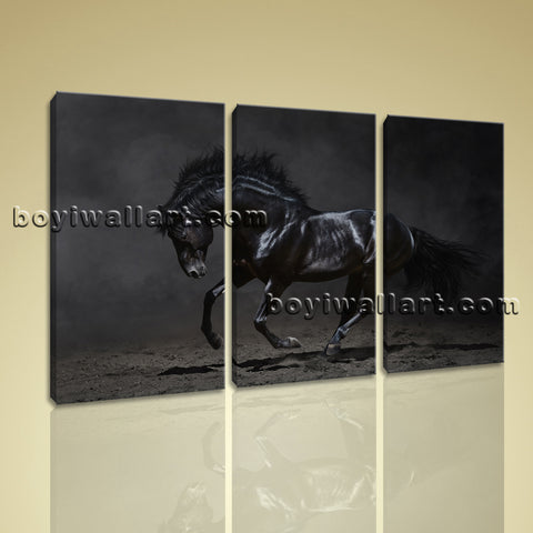 3 Panels Framed Dark Horse Painting Hd Print On Canvas Abstract Moder Wall Art