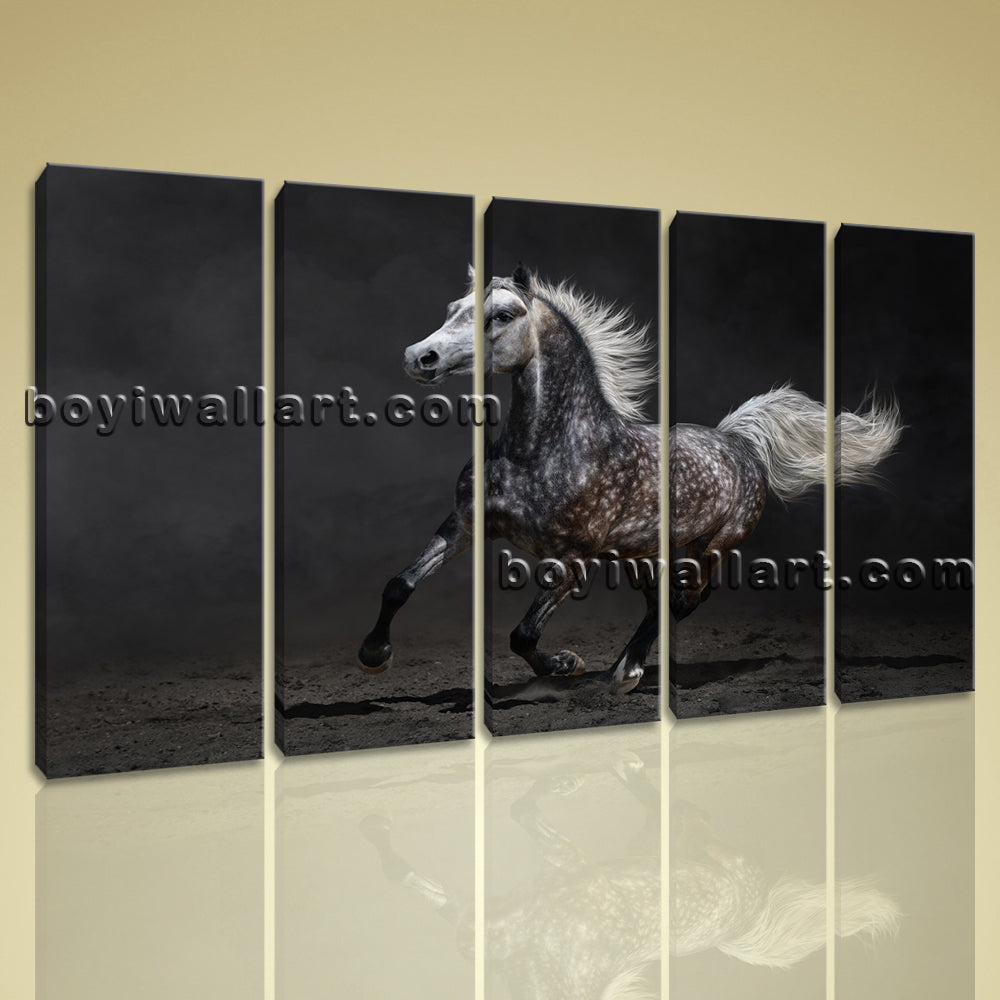 5 Panels Framed Horse Painting Hd Print On Canvas Abstract Moder Wall Art