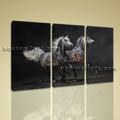 3 Panels Framed Horse Painting Hd Print On Canvas Abstract Moder Wall Art