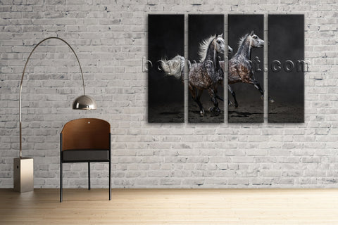 4 Panels Framed Horse Painting Hd Print On Canvas Abstract Moder Wall Art