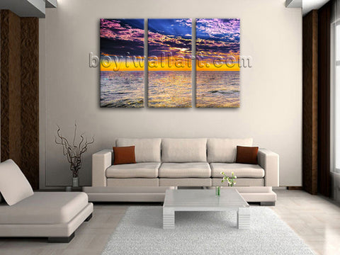 Large Stretched Canvas Print 3 Panels Contemporary Wall Art Sunset Glow Seascape