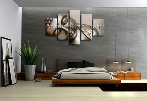 Large Stretched Canvas Print 5 Panels Contemporary Wall Art Fengshui Zen Buddha