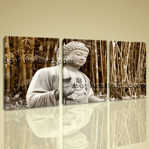 Stretched Hd Canvas Print Contemporary Abstract Wall Art Buddha Feng Shui Bamboo