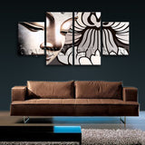 Large Feng Shui Wall Art Buddha Hd Print Home Dining Room Tetraptych Panels