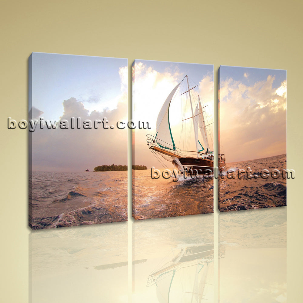 Large Canvas Prints Hd Seascape Ocean Sunset Boat Picture Decorative Panels