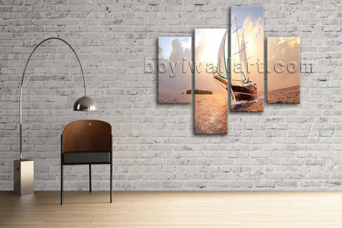 Large Seascape Hd Print Boat Picture Canvas Art Living Room Four Panels