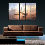 Large Canvas Prints Wall Art 4 Panels Sailing Boat Sunset Seascape Ocean Beach