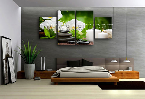 Large Feng Shui Print Zen Art Painting Dining Room Tetraptych Panels Giclee