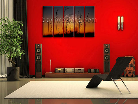Modern Abstract Home Decor Canvas Print Night Moon Landscape Wall Art Stretched