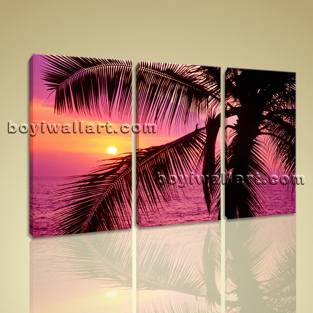 Large Framed Canvas Print 3 Panels Contemporary Wall Art Sunset Glow Palm Tree