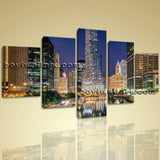 Large Hd Canvas Print Chicago City Skyline Night Contemporary Home Decor Framed