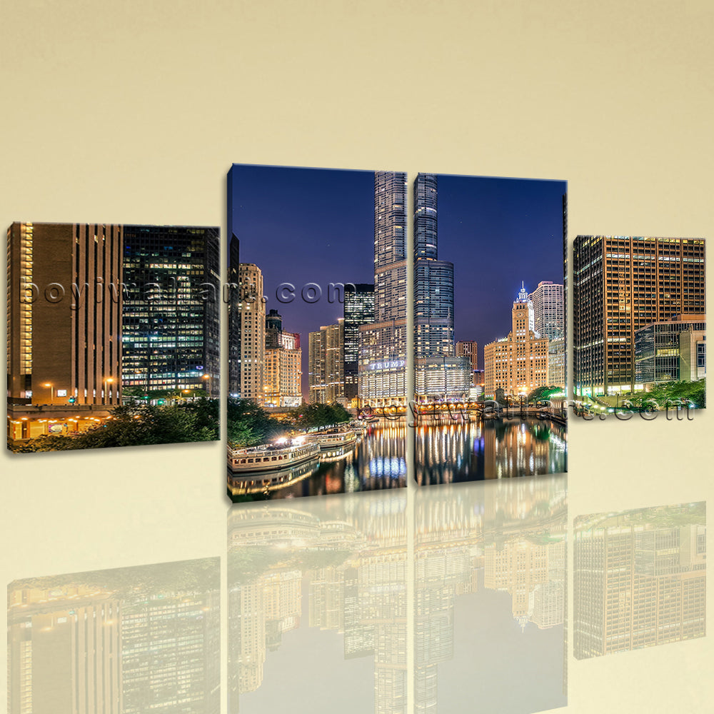 Large Cityscape Hd Print Chicago Wall Decor Art Painting Dining Room Four Pieces