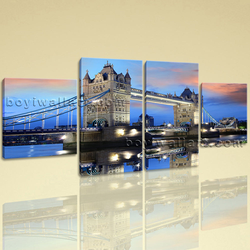 Large Cityscape Painting Tower Bridge Canvas Art Dining Room 4 Pieces Print