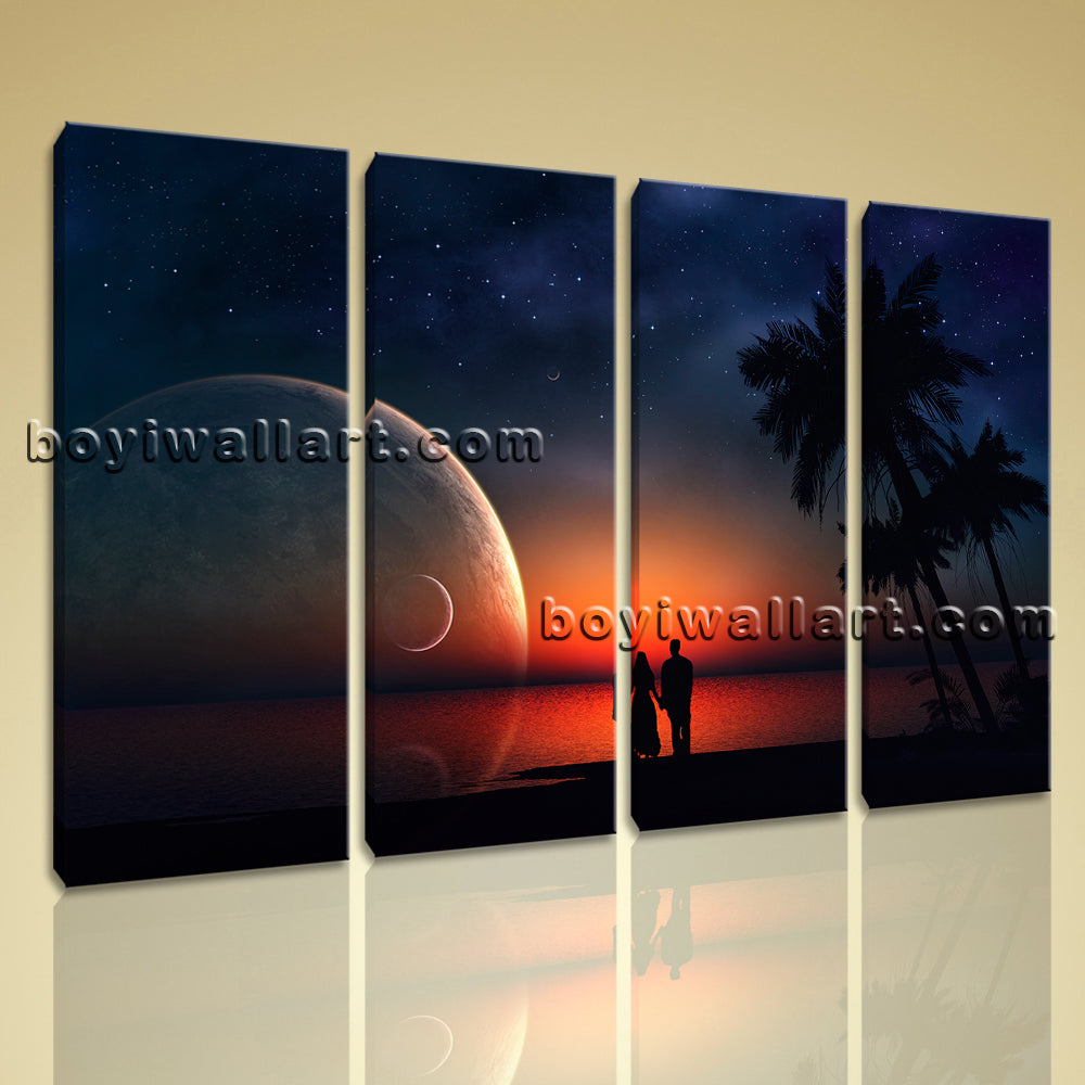 Large Framed Contemproary Landscape Wall Art Home Decorive 4 Panels Canvas Print