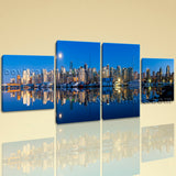 Large Architecture Print Cityscape Canvas Art Dining Room Tetraptych Panels